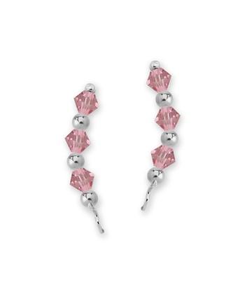 Sterling Silver & Light Rose Crystal Crescent Ear Pin Earrings