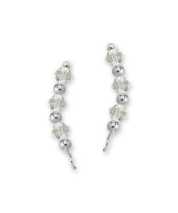 Sterling Silver & Crystal Crescent Ear Pin Earrings