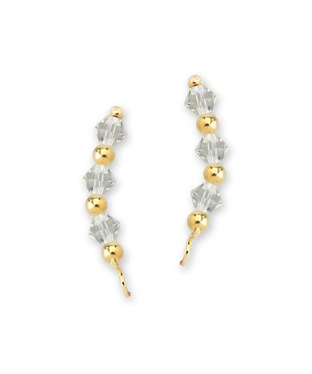 Gold & Crystal Crescent Ear Pin Earrings