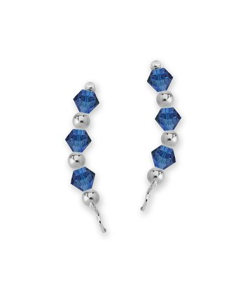 Sterling Silver & Tanzanite Crystal Crescent Ear Pin Earrings