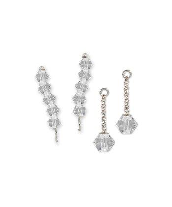 Sterling Silver & Crystal Ear Pin Earrings & Enhancers