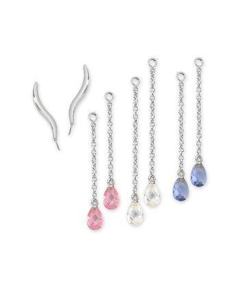 Sterling Silver Classic Ear Pin Earrings & Crystal Enhancers