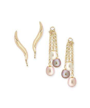 Gold Classic Ear Pin Earrings & Pink Pearl Enhancers