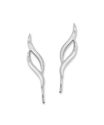 Silver Double Swirl Ear Pin Earrings