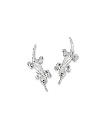 Silver Hawaii's Good Luck Gecko Ear Pin Earrings