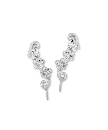 Silver Triple Hawaii Plumeria Ear Pin Earrings