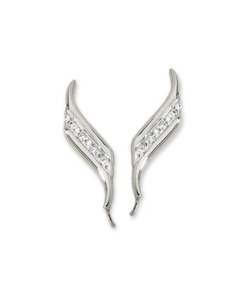 Diamond & Sterling Silver Double Swirls Ear Pin Earrings