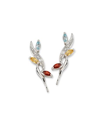 Gemstone & Silver Leaf Ear Pin Earrings