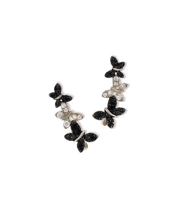Black Cubic Zirconia & Sterling Silver Butterfly Ear Pin Earrings