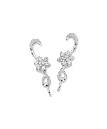 Cubic Zirconia & Silver Bloom Ear Pin Earrings