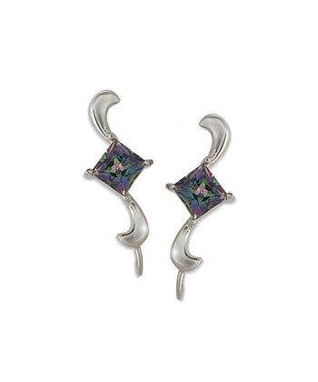 Mystic Topaz & Silver Swirl Ear Pin Earrings