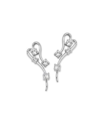 Cubic Zirconia & Silver Stylized Heart Ear Pin Earrings