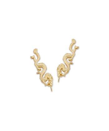 Gold Noble Dragon Ear Pin Earrings