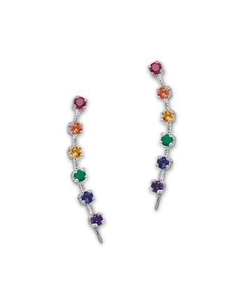Rainbow Cubic Zirconia & Sterling Silver Ear Pin Earrings