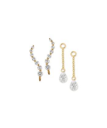 Cubic Zirconia & Gold Journey Ear Pin Enhancer Earrings