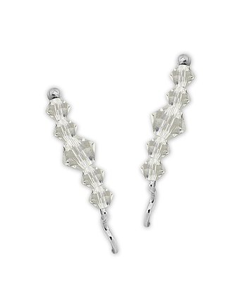Clear Swarovski Crystal & Sterling Silver Ear Pin Earrings