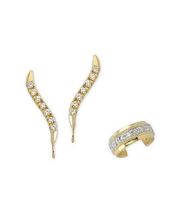 Cubic Zirconia & Gold Ear Pin Earrings & Cuff