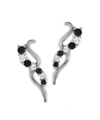Black Cubic Zirconia & Silver Curve Ear Pin Earrings