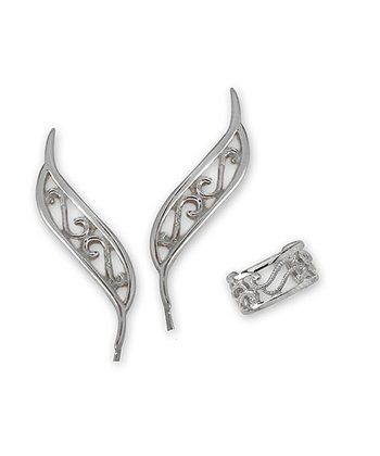Silver Filigree Ear Pin Earrings & Cuff