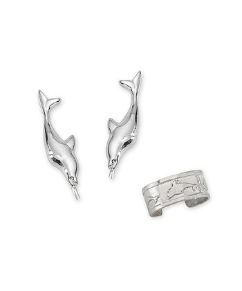 Silver Dolphin Ear Pin Earrings & Cuff