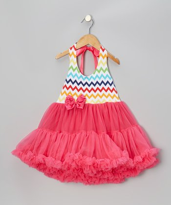 Raspberry Zigzag Halter Pettidress - Infant, Toddler & Girls