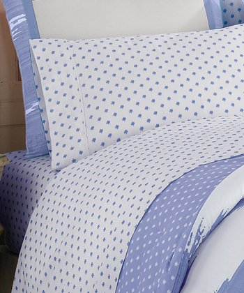 Blue Ikat Queen Sheet Set