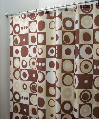Brown Mod Squares Shower Curtain