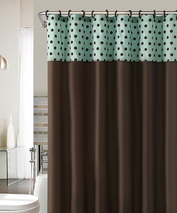 Blue & Chocolate Caitlin Flocked Shower Curtain