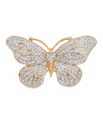 Gold SWAROVSKI ELEMENTS Madam Butterfly Pin Brooch
