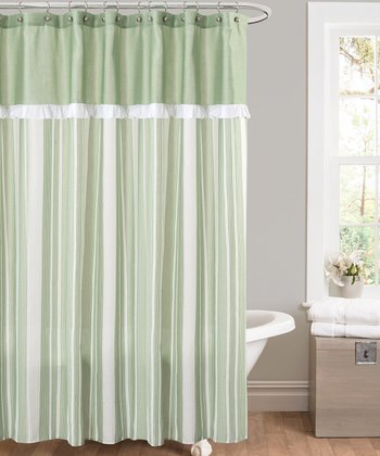 Green Rowan Shower Curtain