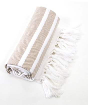 Beige & White Herringbone Pestemal Towel