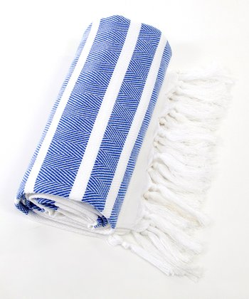 Royal Blue & White Herringbone Pestemal Towel