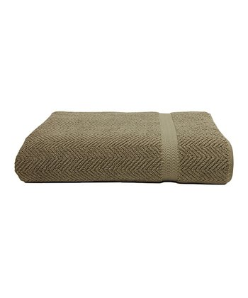 Light Olive Herringbone Hotel & Spa Bath Sheet