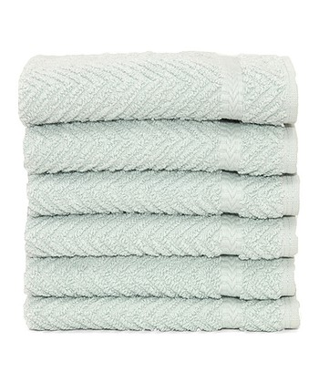 Aqua Herringbone Hotel & Spa Washcloth - Set of Six