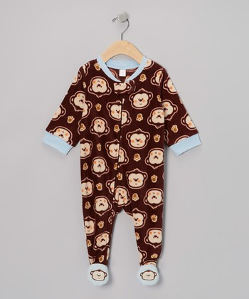 Brown Monkey Fleece Footie - Infant & Toddler