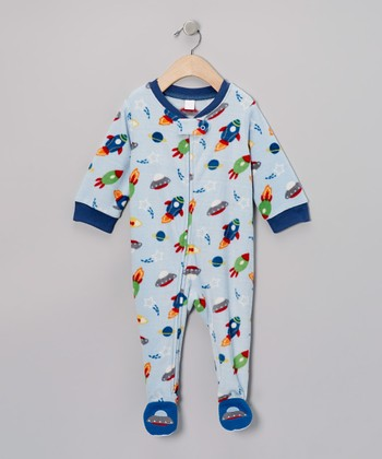 Blue Spaceships Fleece Footie - Infant & Toddler