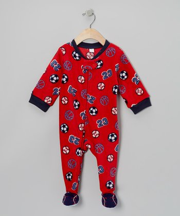 Red Sports Fleece Footie - Infant & Toddler
