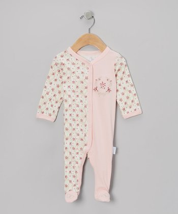 Pink Floral Butterflies Footie - Infant