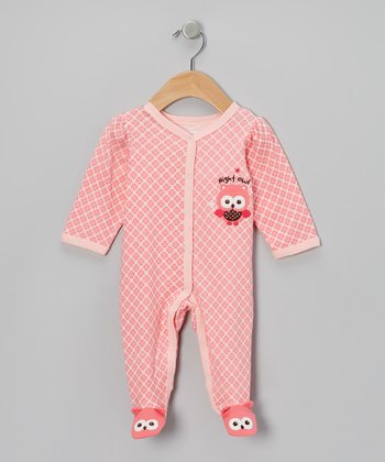 Pink Night Owl Footie - Infant