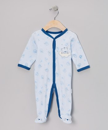 Blue Sleepy Bear Footie - Infant