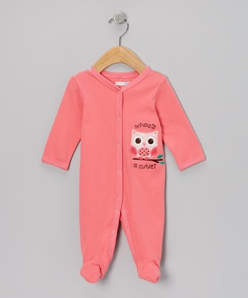 Pink 'Whoo's a Cutie' Footie - Infant
