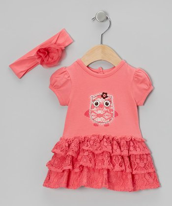 Pink Flower Headband & Owl Lace Skirted Bodysuit
