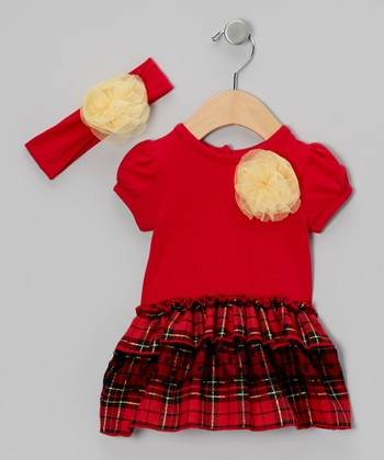 Red Flower Headband & Plaid Skirted Bodysuit