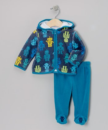 Turquoise Robots Zip-Up Hoodie & Footie Pants - Infant