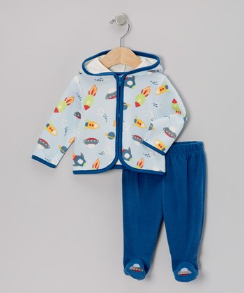 Blue Space Ship Zip-Up Hoodie & Pants - Infant