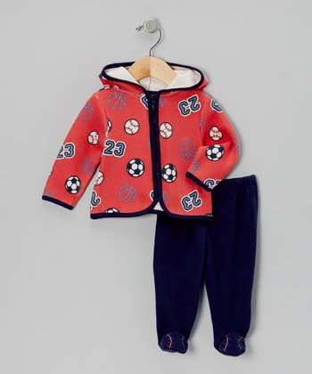 Red Sports Zip-Up Hoodie & Pants - Infant