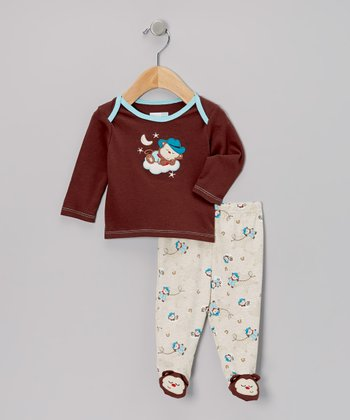 Brown Cowboy Monkey Footie Pajama Top & Bottoms - Infant