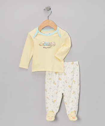 Yellow 'Sleepy Heads' Footie Pajama Top & Bottoms - Infant