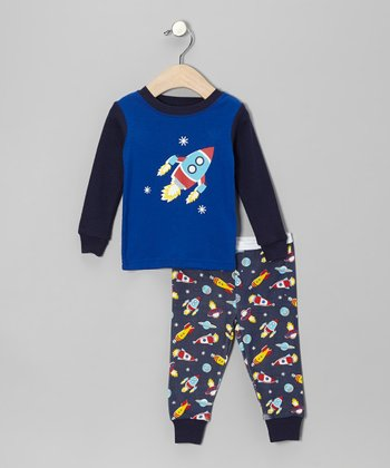 Blue Spaceship Pajama Set - Toddler
