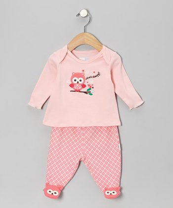 Pink 'Whoo's Sleepy' Footie Pajama Top & Bottoms
